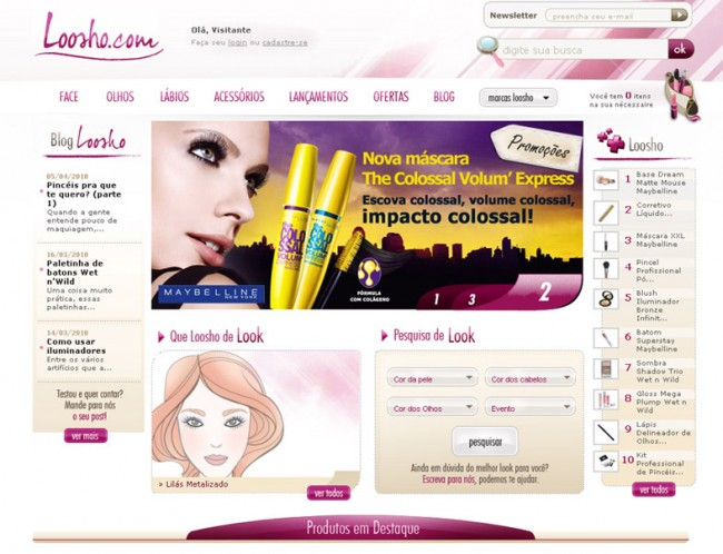 Loja virtual de make-up