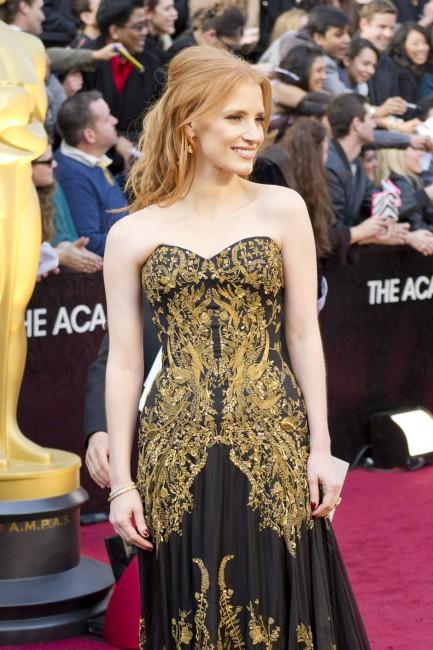 Jessica Chastain no Oscar 2012 Divulgação/ AMPAS